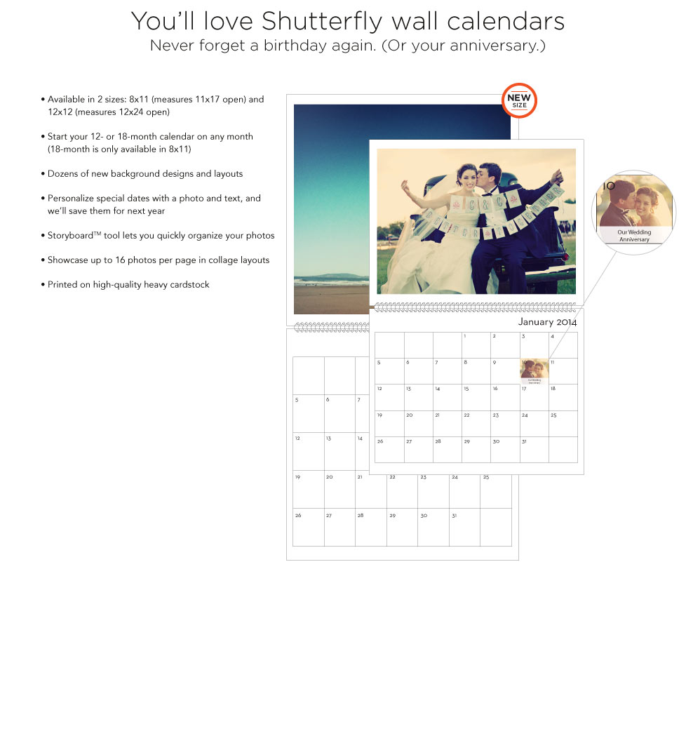 You'll love Shutterfly wall calendars